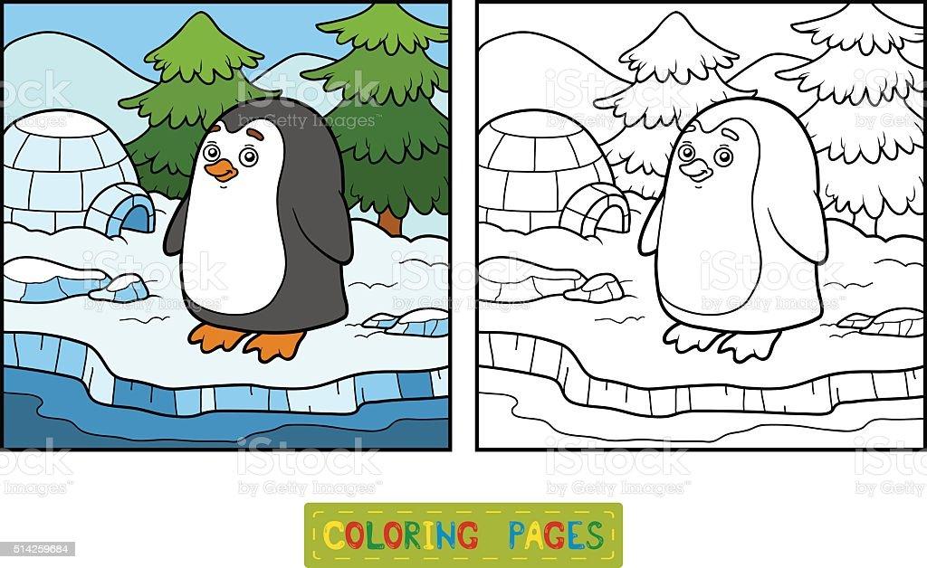 Ilustración de Libro Para Colorear Pingüino Y De Fondo y más banco ...