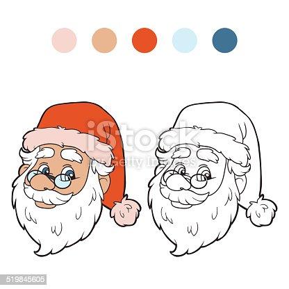 istock Libro para colorear: Santa Claus da un regalo de un niño ...