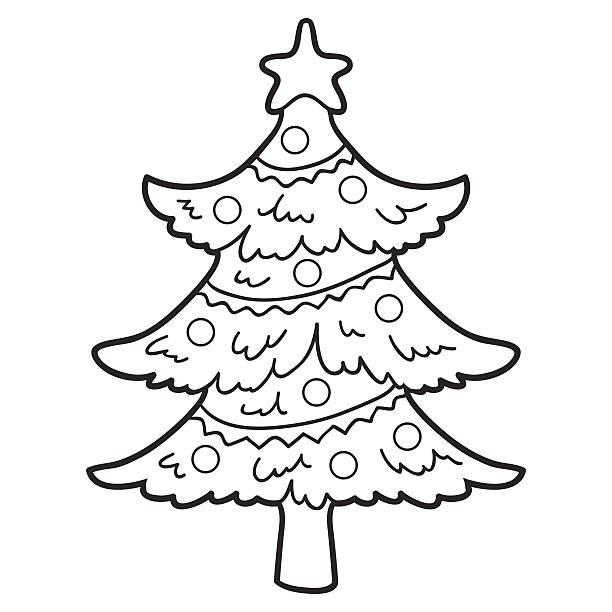 색칠놀이 책 (크리스마스 트리 - 색칠하기 stock illustrations