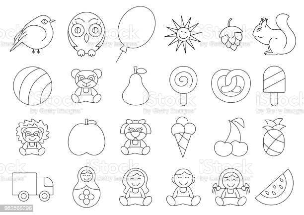 Coloring book vector kids illustration doll owl squirrel sun ball toy vector id982566296?b=1&k=6&m=982566296&s=612x612&h=wkgcfaaky ut ukvborezpxllthcxunqujhnou6qfrc=