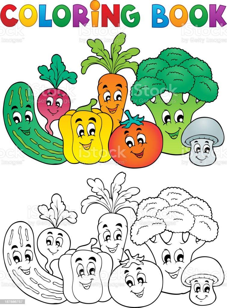 Libro Da Colorare Tema Di Verdura 2 Immagini Vettoriali Stock E