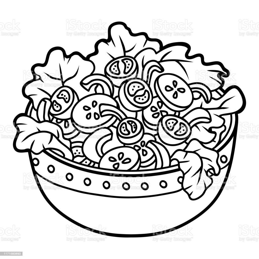 Ilustración De Libro Para Colorear Ensalada De Verduras Y