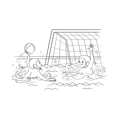 Coloring book water polo athletes throwing a ball to each other in the pool. Vector illustration, in cartoon style, black and white line art
