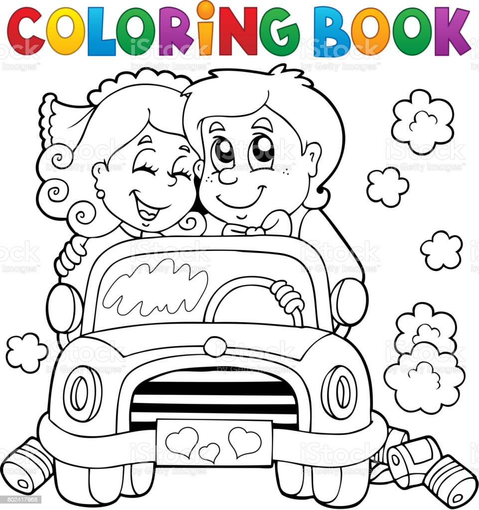 Coloring Book Wedding Car Royalty Free Stock Vector Art Amp