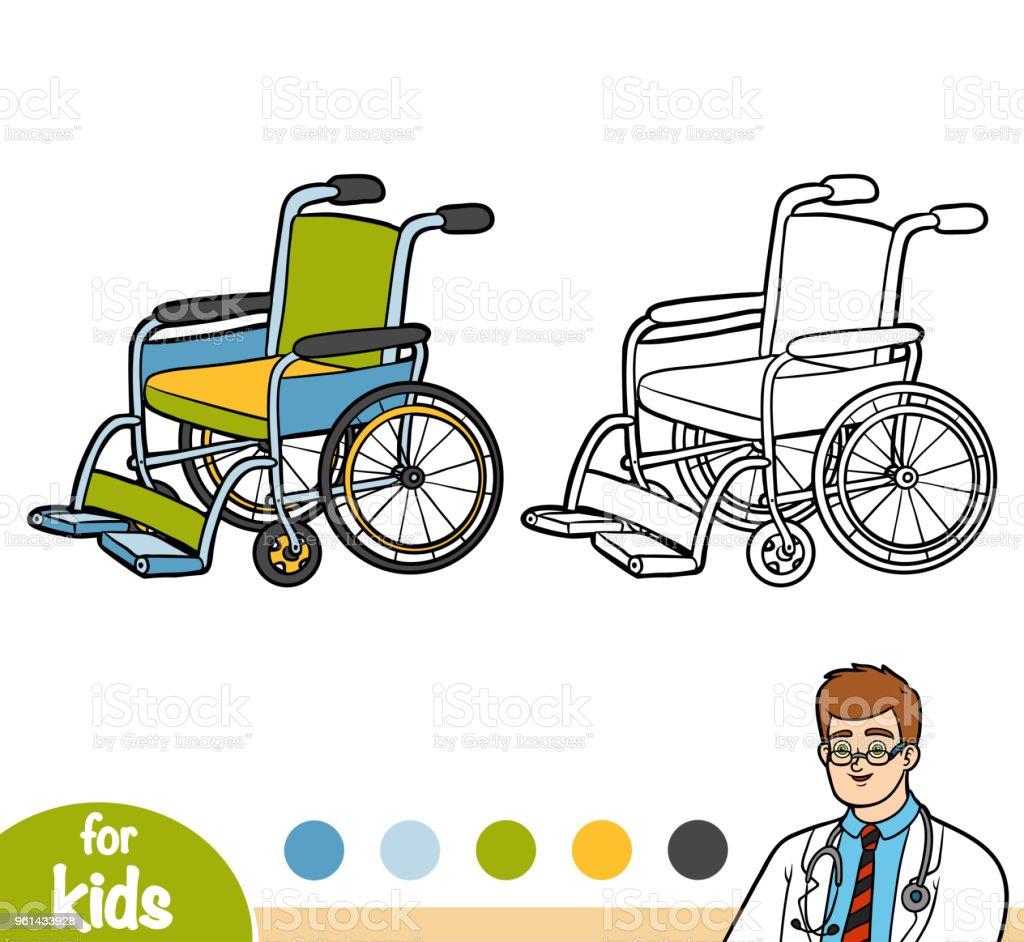 Boyama Kitabı Tekerlekli Sandalye Stok Vektör Sanatı Anaokulunin