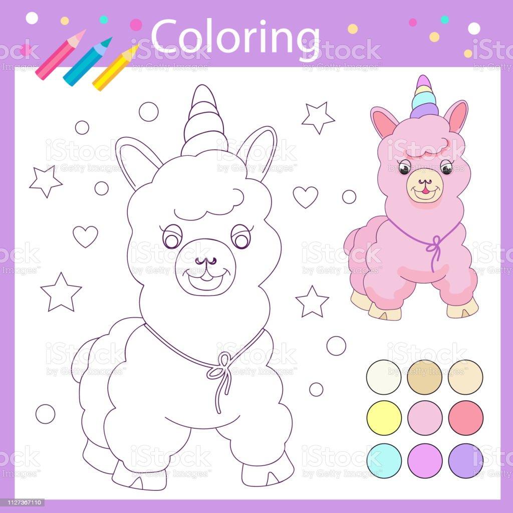 Ilustración De Colorear Libro Wih Lindo Lama Niños Para Colorear Con