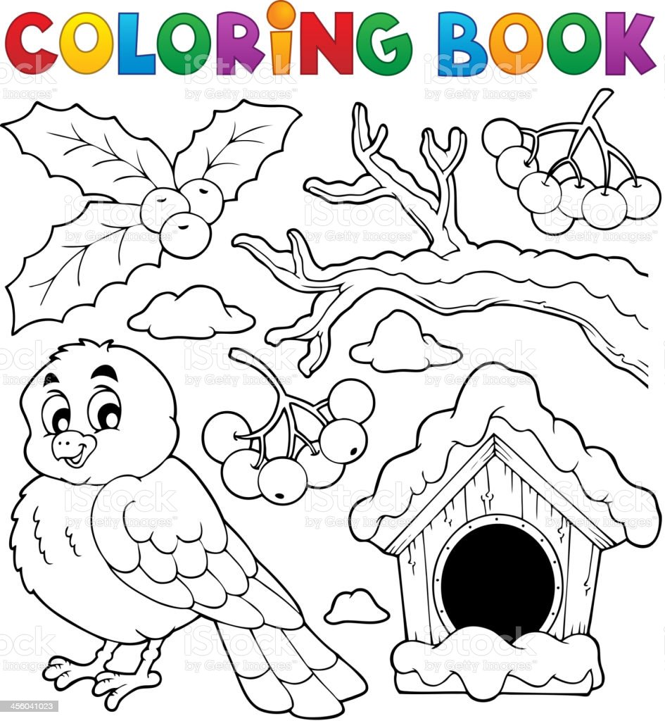 Libro Para Colorear Invierno Pájaro Tema 1 - Arte vectorial de stock ...