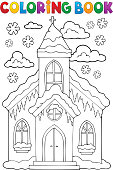 Coloring book winter church building 1