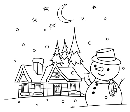 Coloring Book, winter night with a snowman