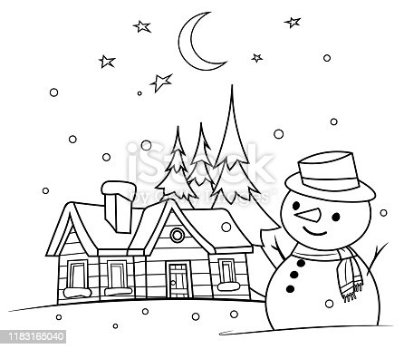 istock Coloring Book, winter night with a snowman 1183165040