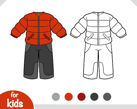 Coloring book, Winter snowsuit for boys
