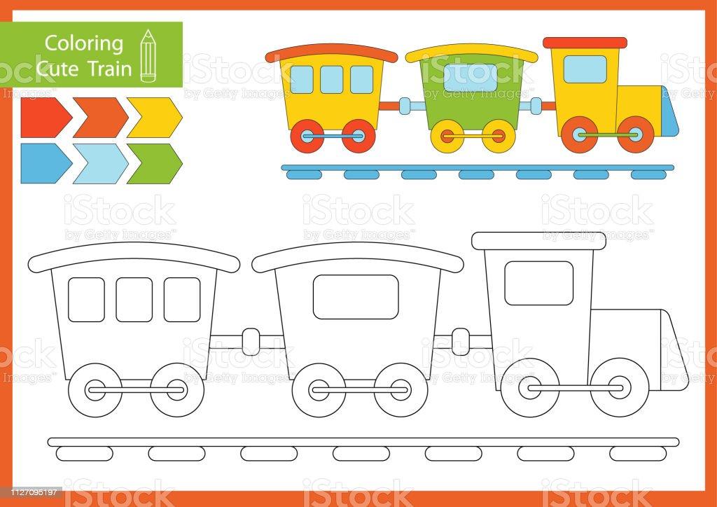Ilustración De Libro De Colorear Con Un Tren Hojas De Dibujo