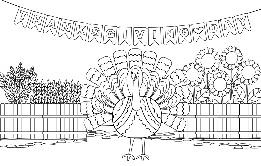 Coloring book with a turkey, a vegetable garden for Thanksgiving. Black and white vector illustration with a closed contour.
