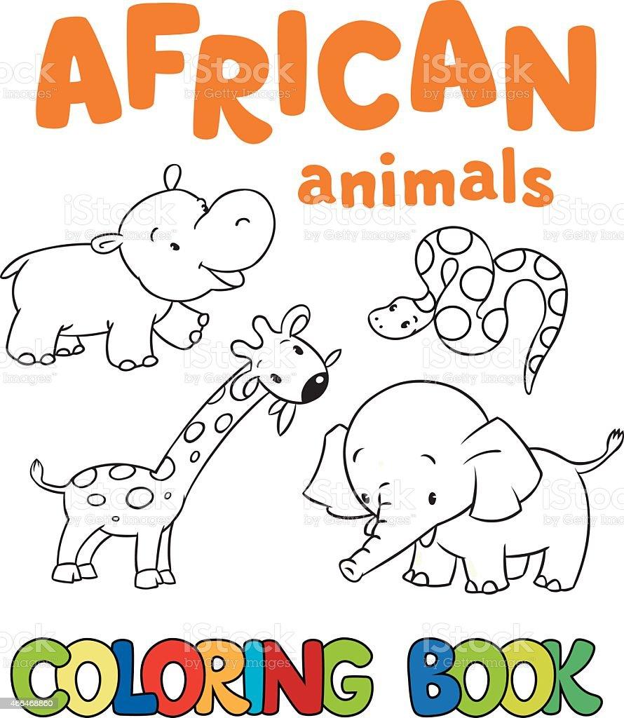 Libro Para Colorear Con Los Animales Africanos Illustracion Libre de ...