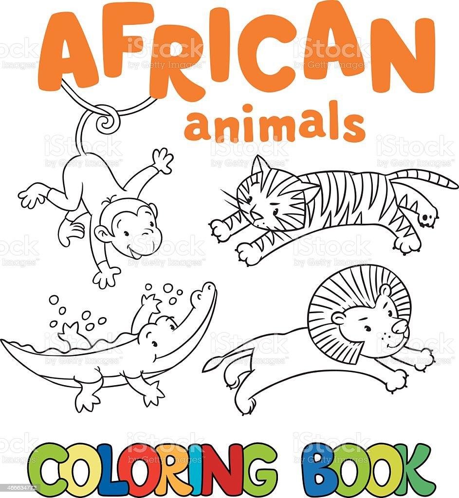 Libro Para Colorear Con Los Animales Africanos - Arte vectorial de ...