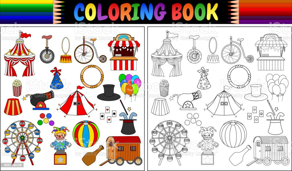 Coloring Book With Amusement Park Icons Set Stock Vector Art More