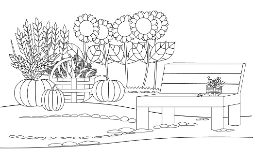 Coloring book with an autumn landscape. For page design, games, covers, design, creativity. Thanksgiving day.