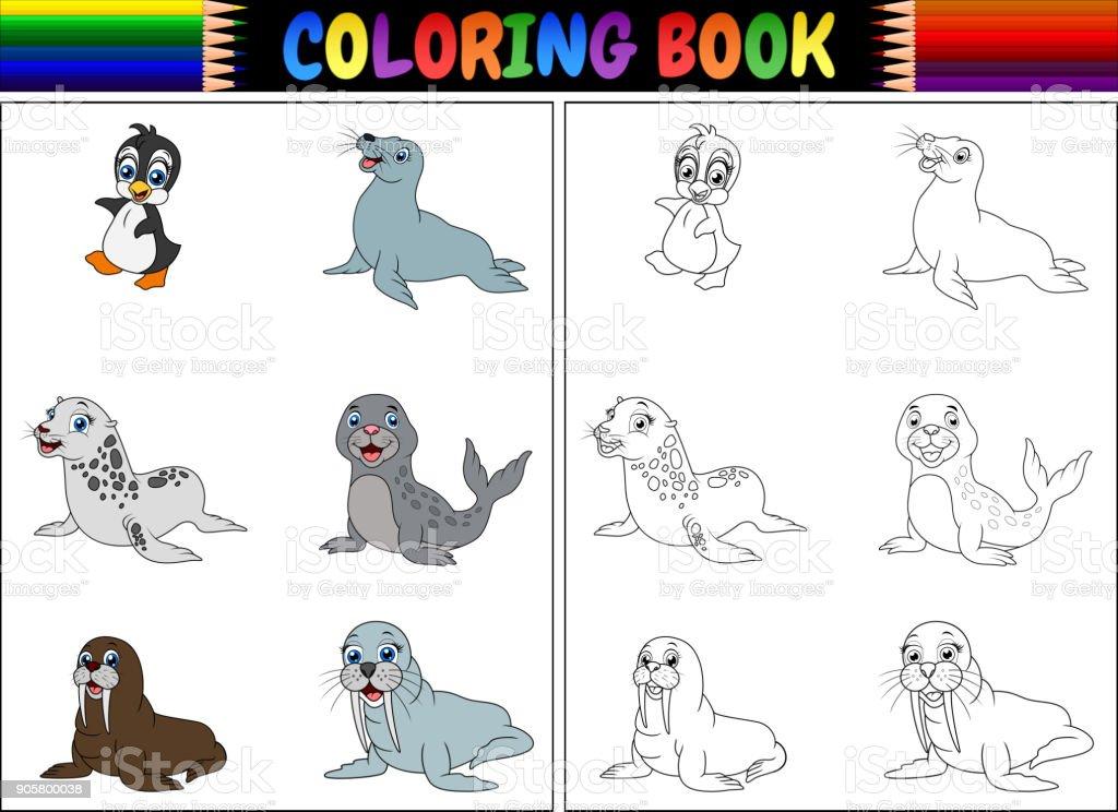 Kutup Hayvanları Koleksiyonu Ile Boyama Kitabı Stok Vektör Sanatı