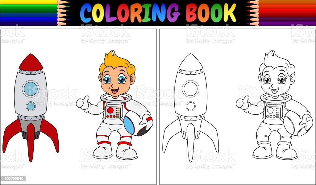 çocuk Ve Roket Gemisi Ile Astronot Boyama Kitabı Stok Vektör Sanatı