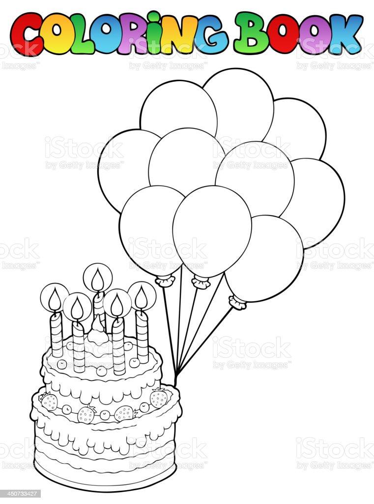 Ilustración de Libro Para Colorear Con Pastel De Cumpleaños 1 y más ...