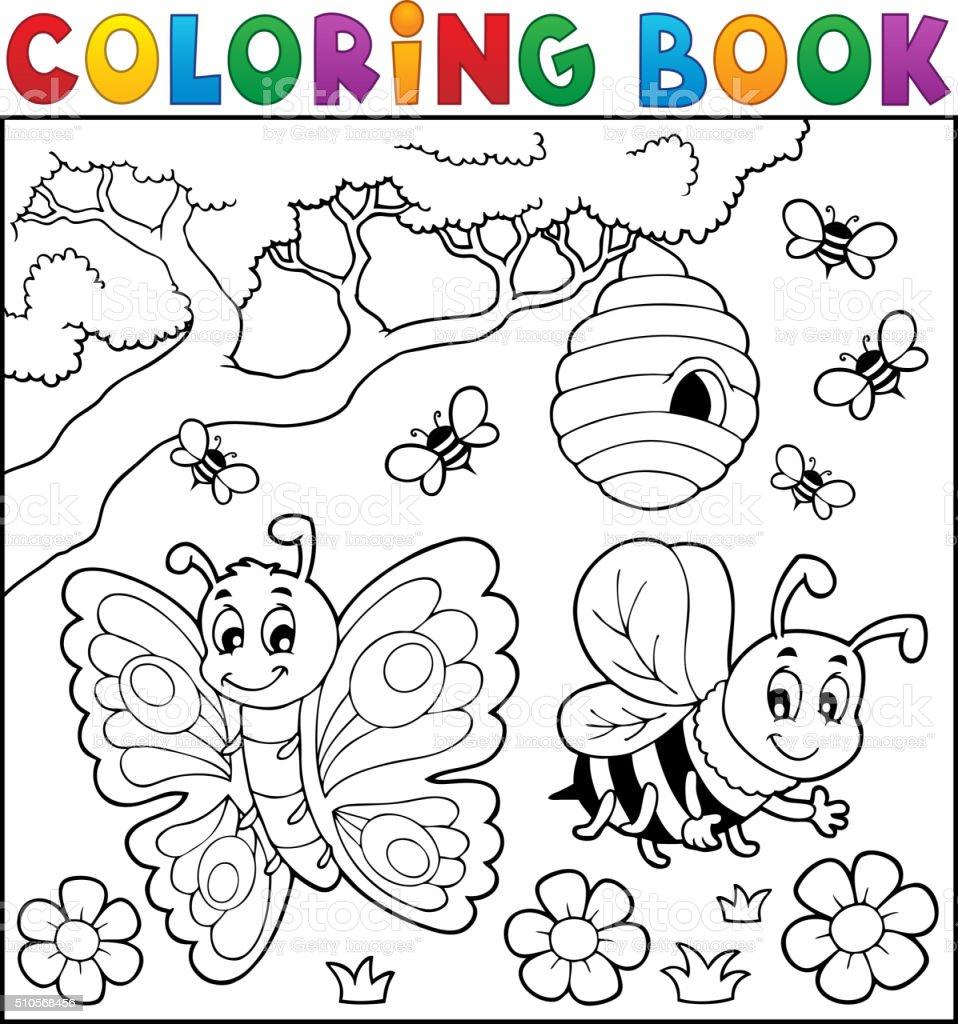 Libro Para Colorear Con Mariposa Y Abeja - Arte vectorial de stock y ...