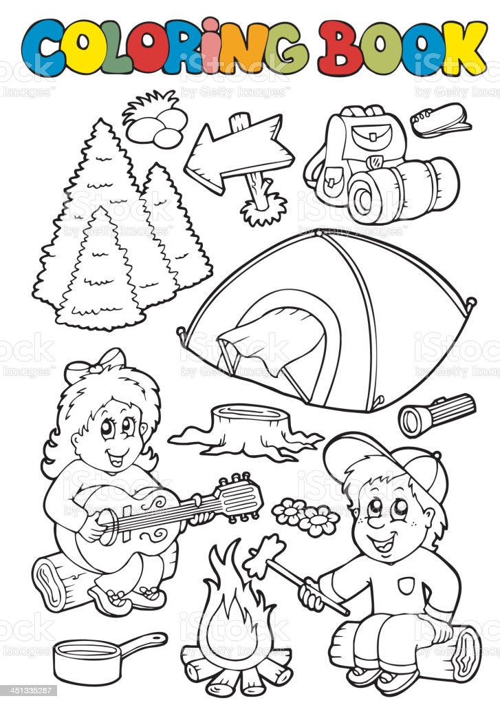 Ilustración de Libro Para Colorear Con Los Campamentos Temáticos y ...