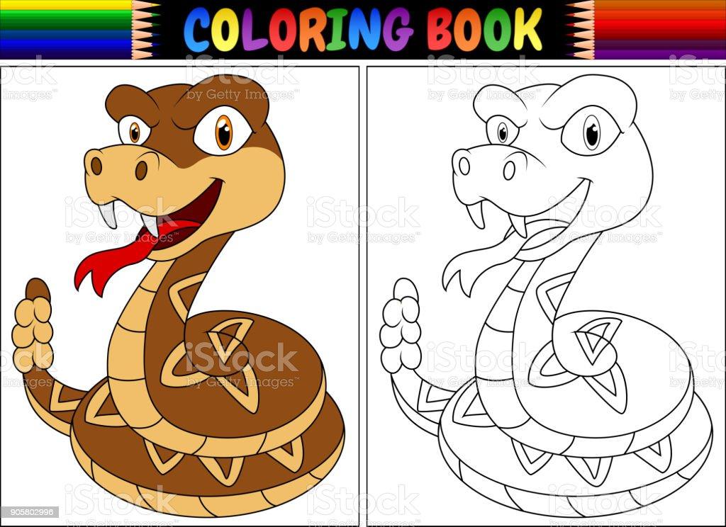 Ilustración de Libro Para Colorear Con Serpiente De Cascabel De ...