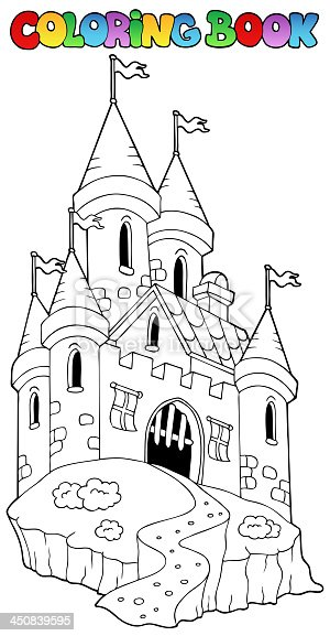Coloring book with castle 1 - vector illustration.