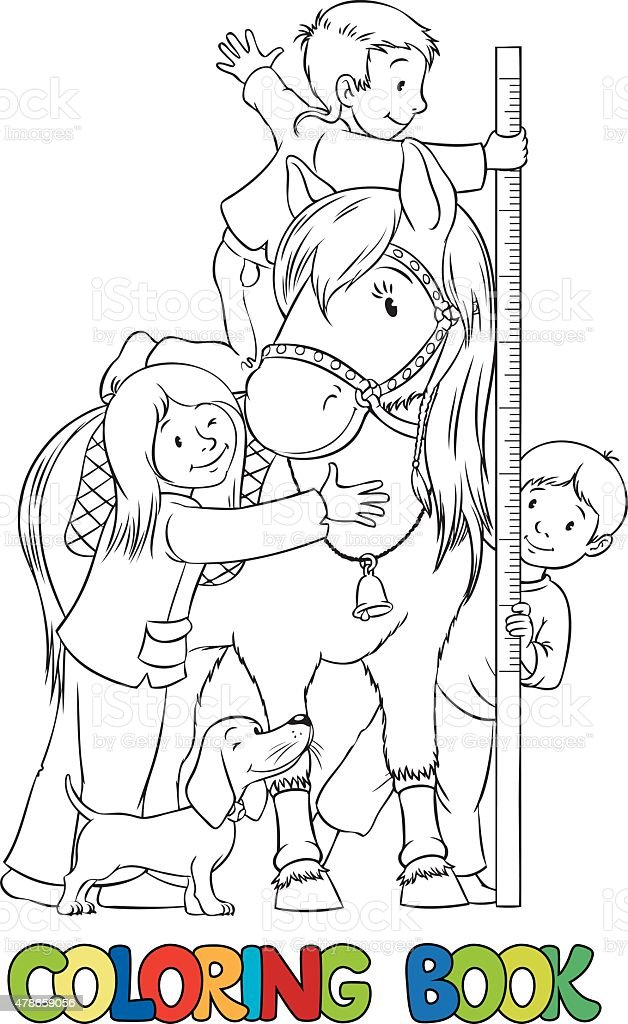 Coloring book with children and a pony vector art illustration