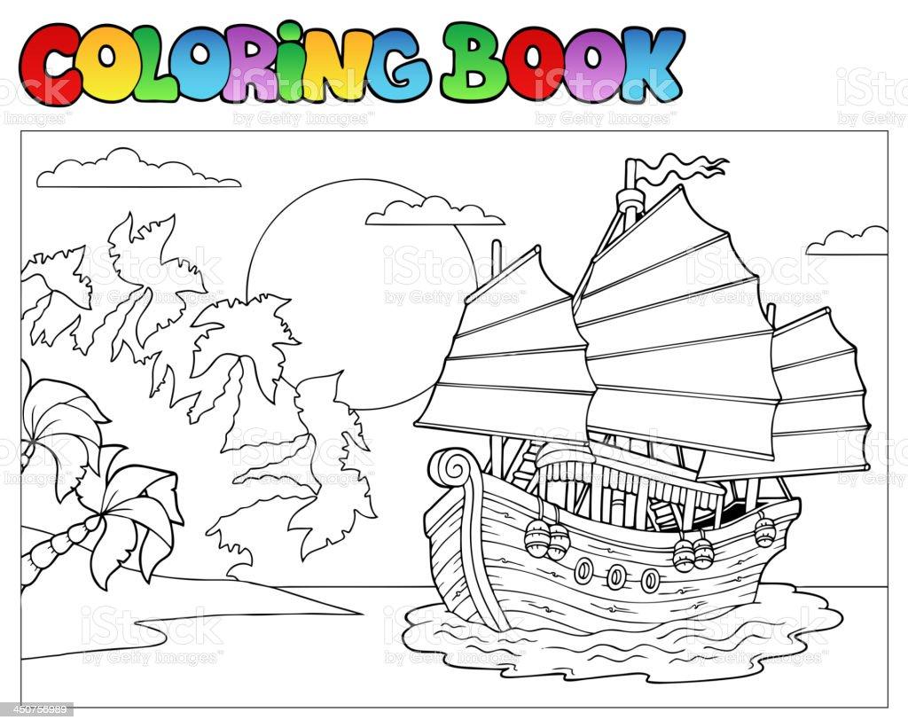 Libro Para Colorear Con China Barco - Arte vectorial de stock y más ...
