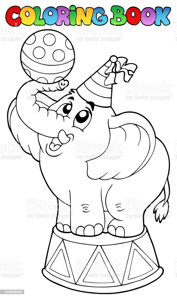 - Coloring Book With Circus Elephant Stock Illustration - Download Image Now  - IStock