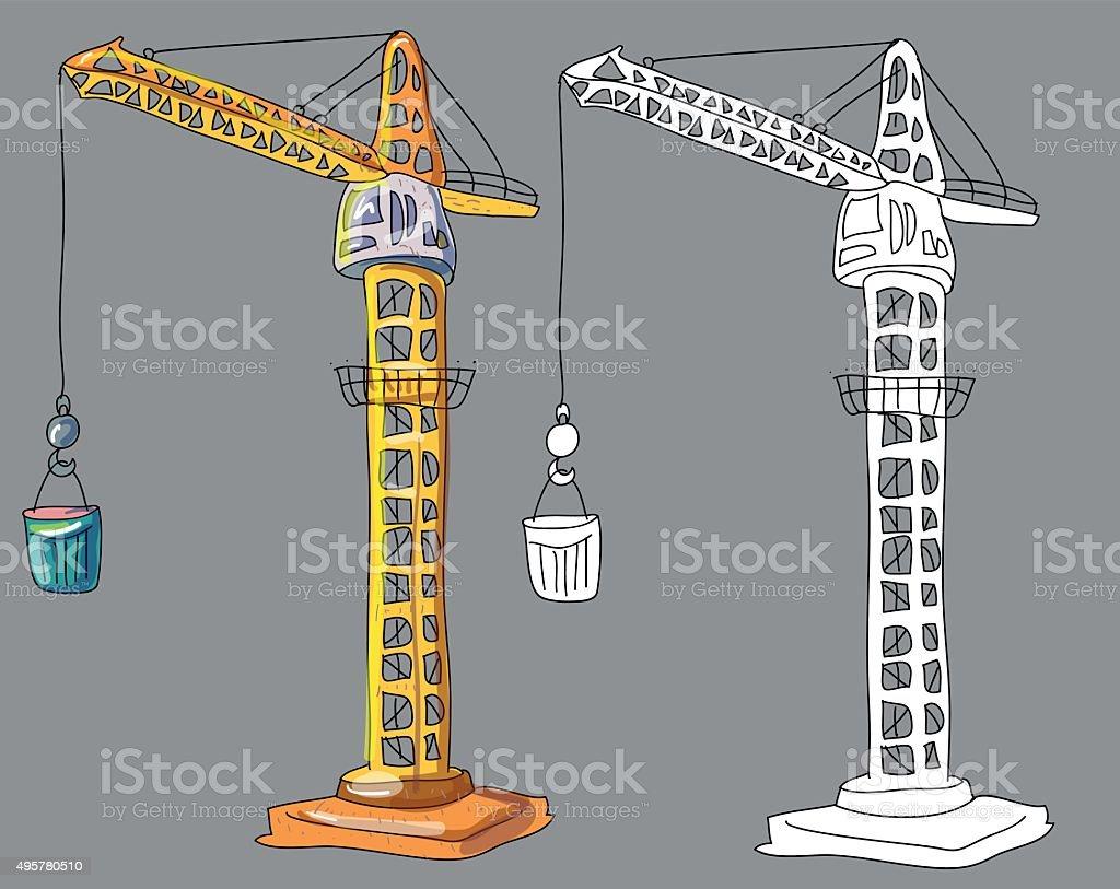 Ilustración de Libro Para Colorear Con La Grúa De La Construcción De ...