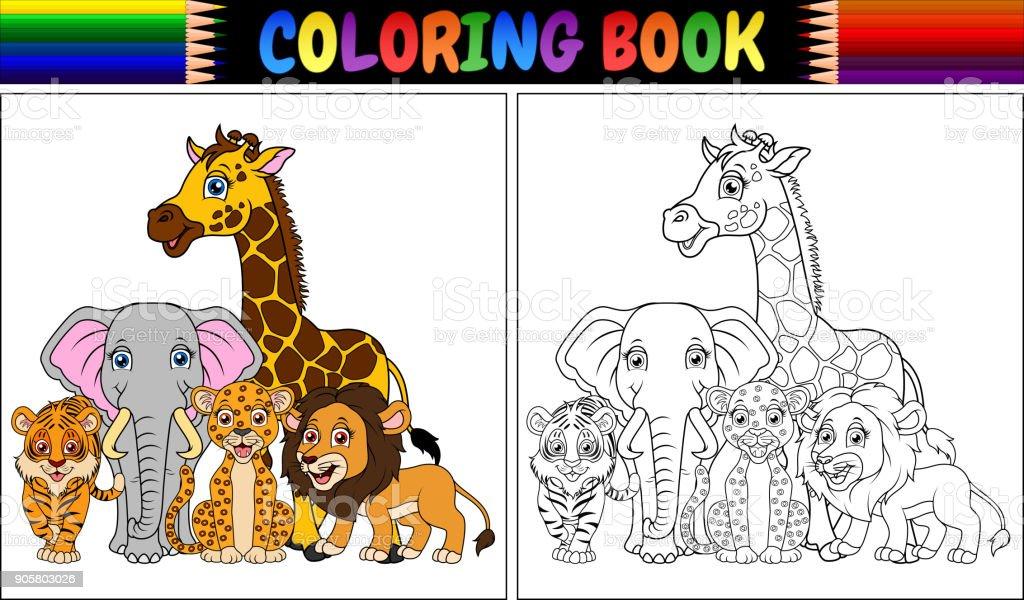 Libro Para Colorear Con Animales Africanos Lindos - Arte vectorial ...