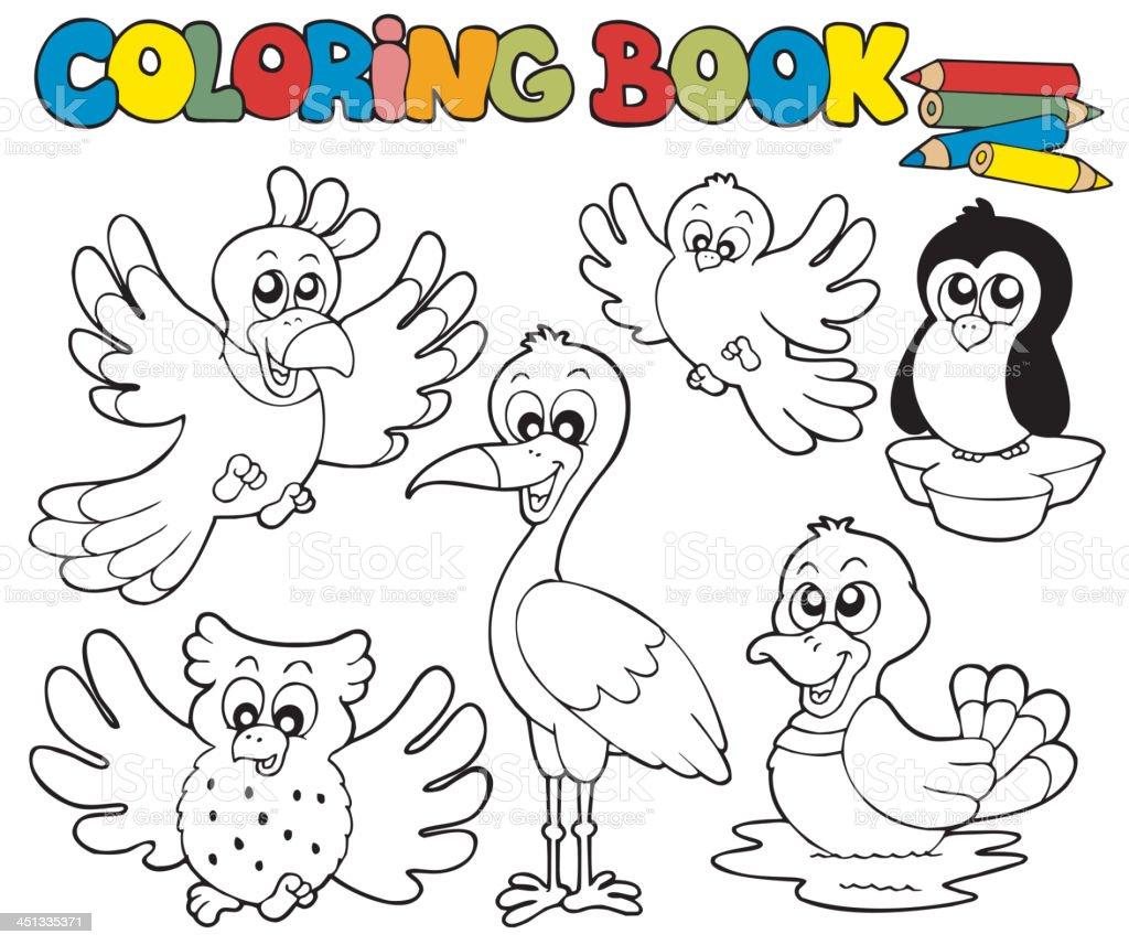 Ilustración de Libro Para Colorear Con Los Pájaros Una Monada y más ...