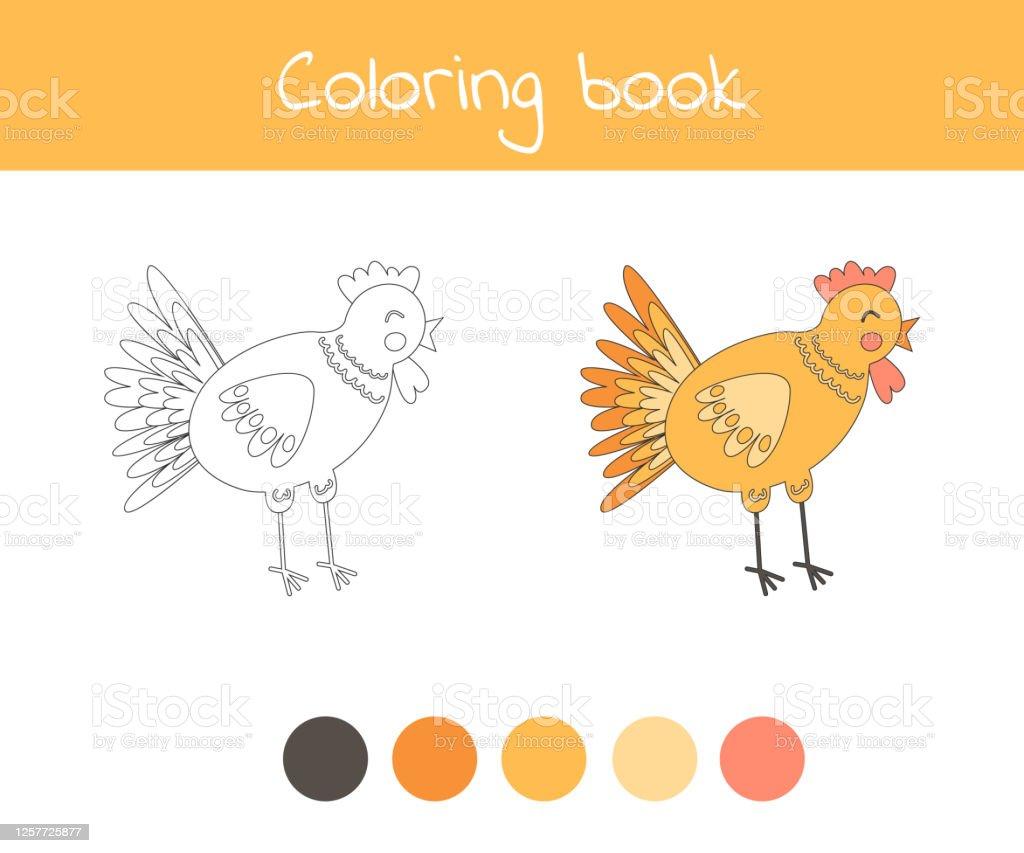 Buku Mewarnai Dengan Ayam Hewan Ternak Yang Lucu Untuk Anakanak Tk Prasekolah Dan Usia Sekolah Ilustrasi Stok Unduh Gambar Sekarang Istock