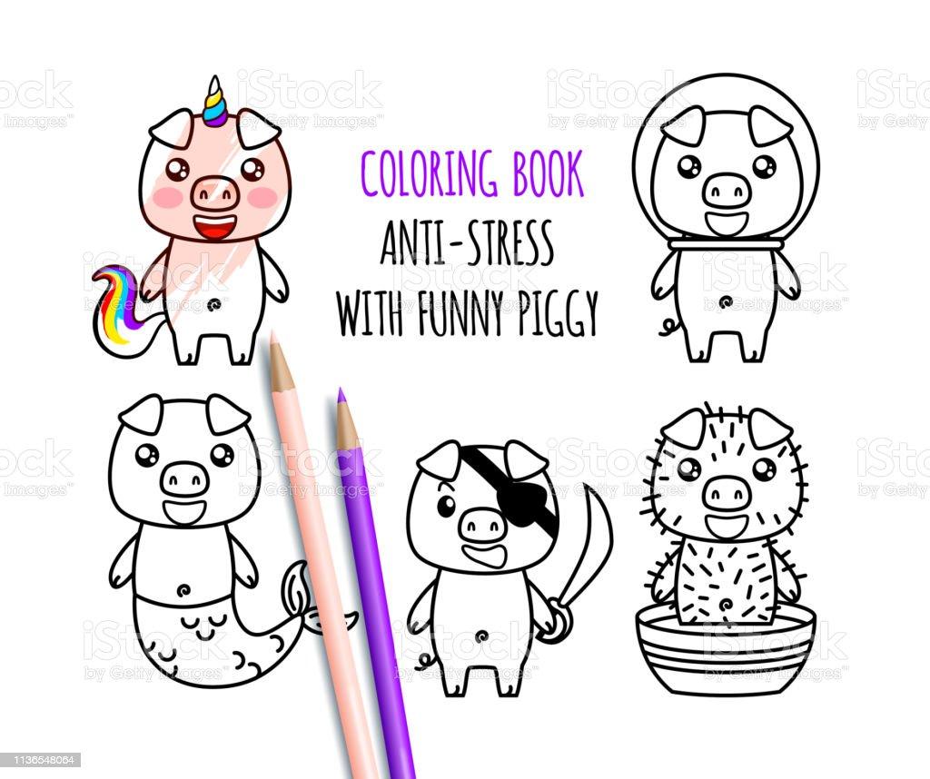 Kawaii Coloriage Livre.Livre De Coloriage Avec Mignon Drole Kawaii Cochons Jeu De