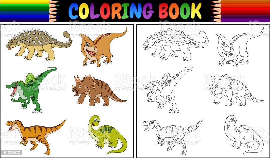 Dinozor Karikatür Koleksiyonu Ile Boyama Kitabı Stok Vektör Sanatı