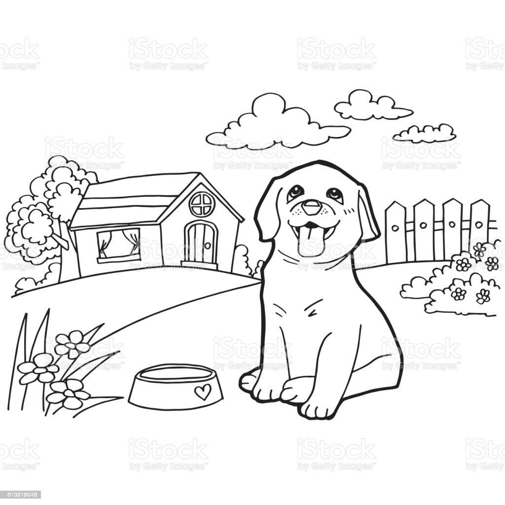 Ilustración De Libro Para Colorear Con Perro Y Casa El Vector Y Más