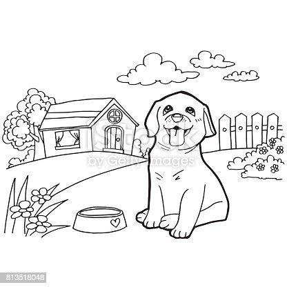 istock Libro para colorear con perro y casa el vector 813518076 istock ...