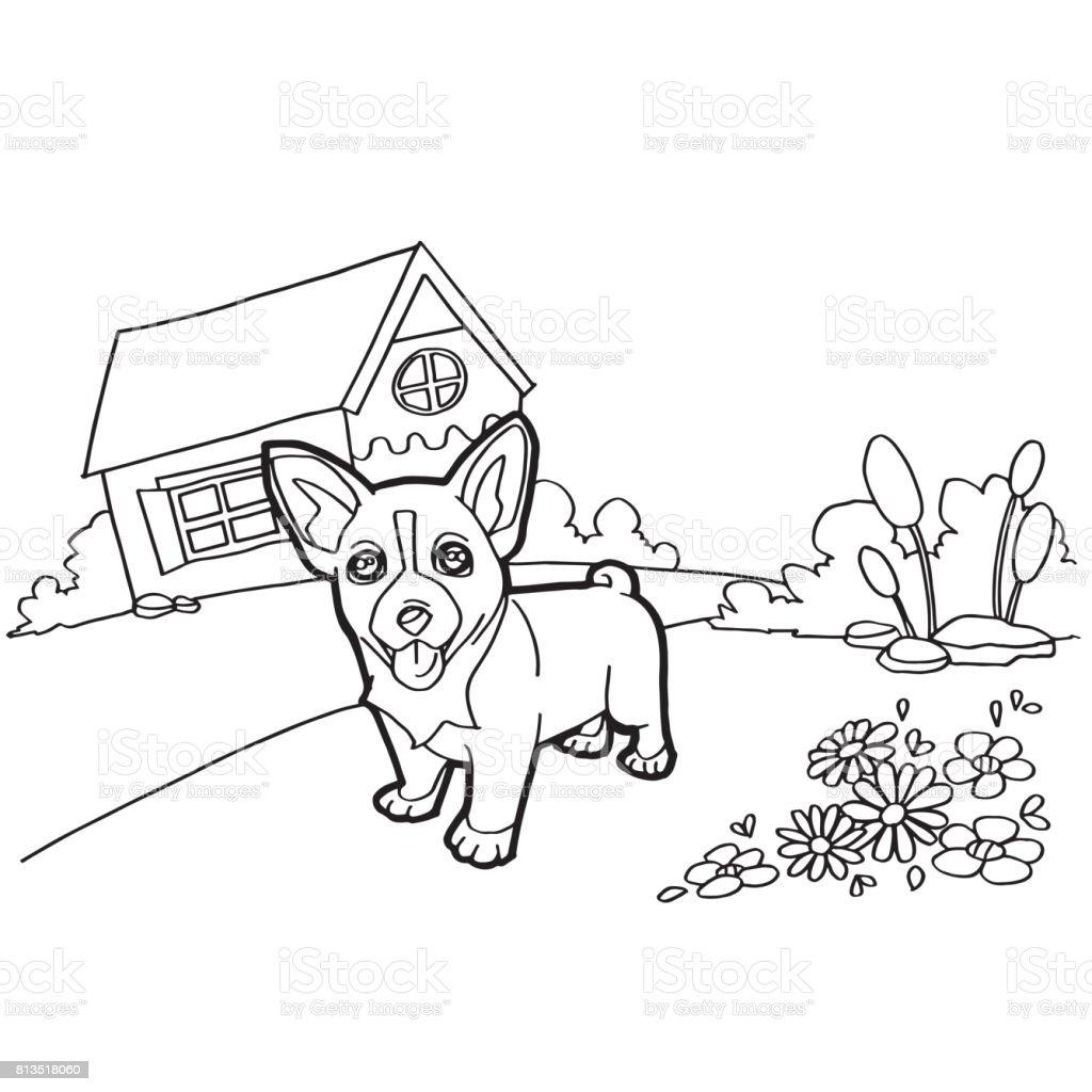 Libro Para Colorear Con Perro Y Casa El Vector - Arte vectorial de ...