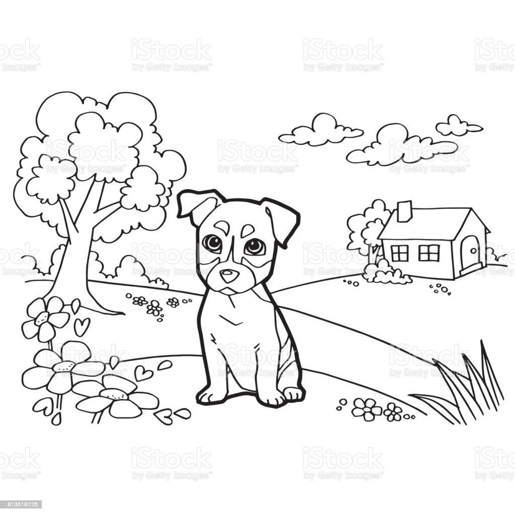 Ilustración de Libro Para Colorear Con Perro Y Casa El Vector y más ...