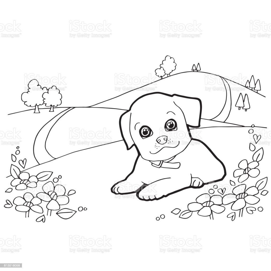 Ilustración De Libro Para Colorear Con El Vector De Perro Y