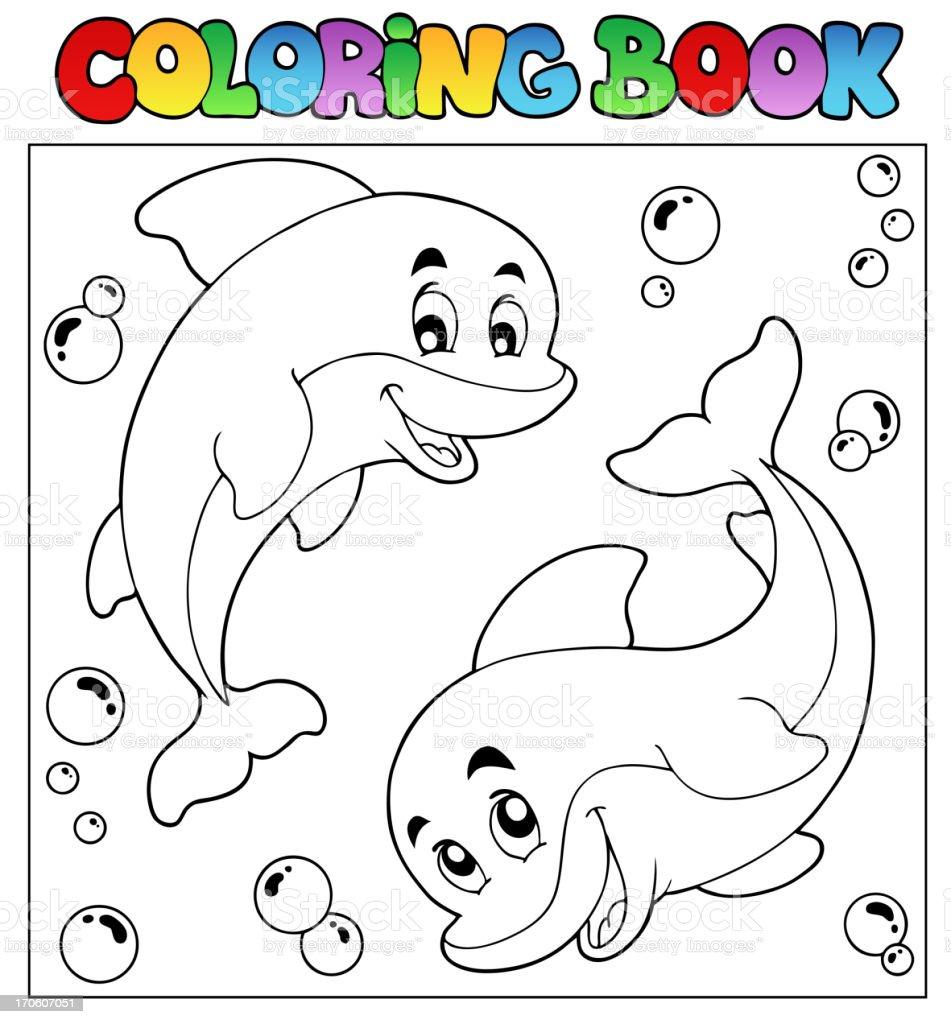 Ilustración de Libro Para Colorear Con Los Delfines 1 y más banco de ...