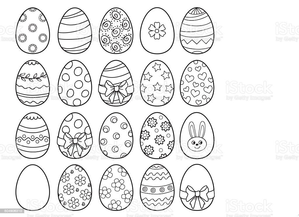 Coloring Book With Easter Eggs Vector Illustration Stock Illustration -  Download Image Now - IStock