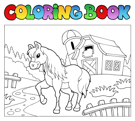 Coloring book with farm and horse