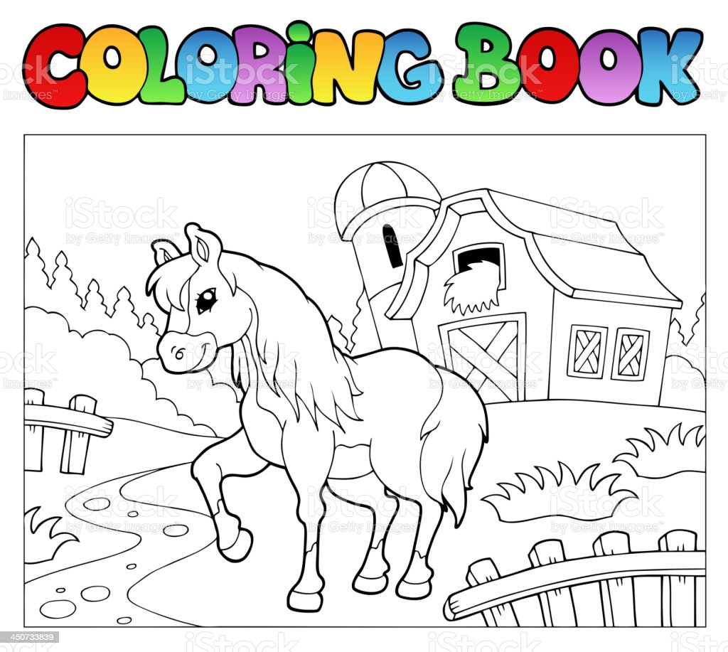 Coloring book with farm and horse vector art illustration