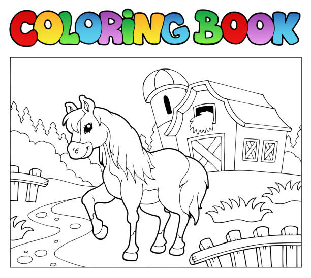coloring book with farm and horse - pony stock illustrations
