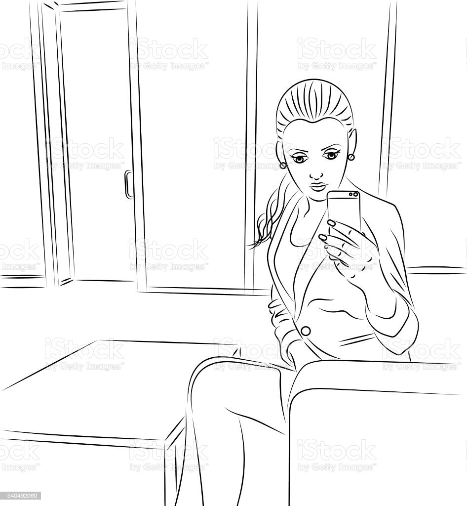 Coloring Book With Female Doing Selfie Stok Vektor Sanati Boyama