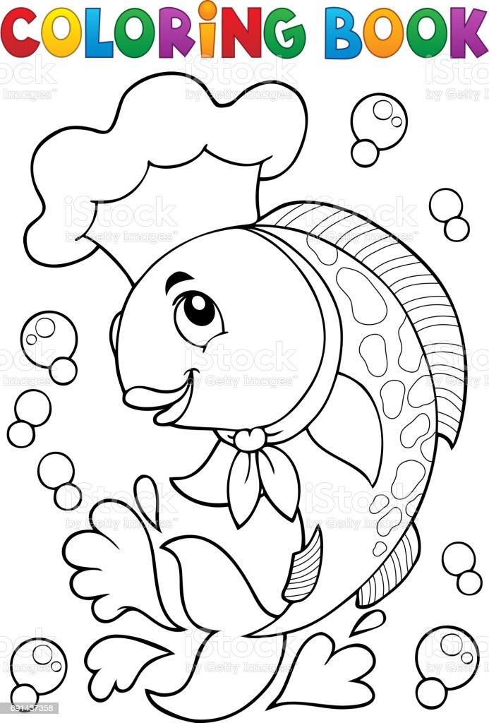 Boyama Kitabı Balık Ile şef Stok Vektör Sanatı Aşçınin Daha Fazla