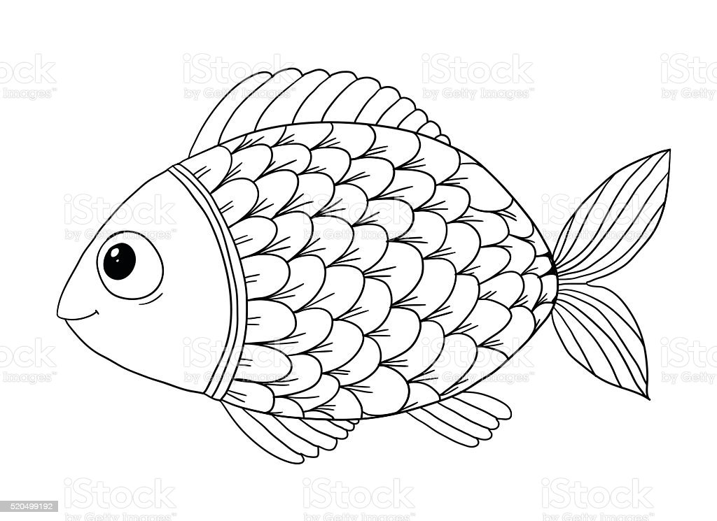 Coloring Book With Fish Stock Vector Art 520499192